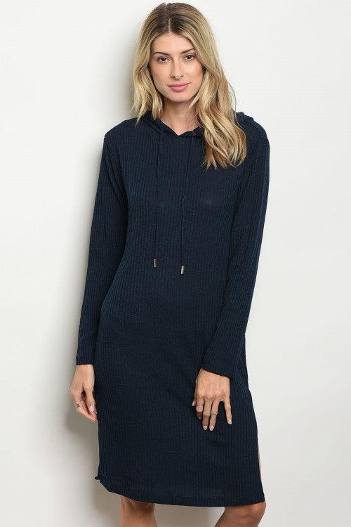 Hooded Navy Pull Over Dress