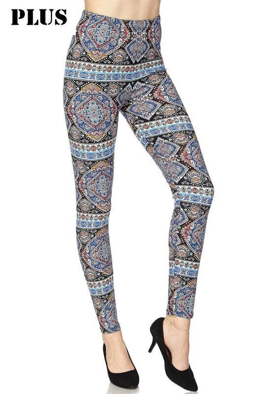 Curvy Oriental Pattern Leggings