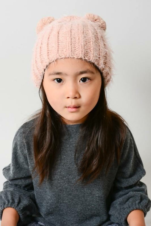Kids Fuzzy Double Pom Hat - 3 colors