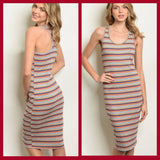 Grey W/ Stripes Bodycon