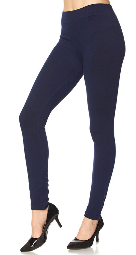 French Terry Solid Navy Ankle Leggings