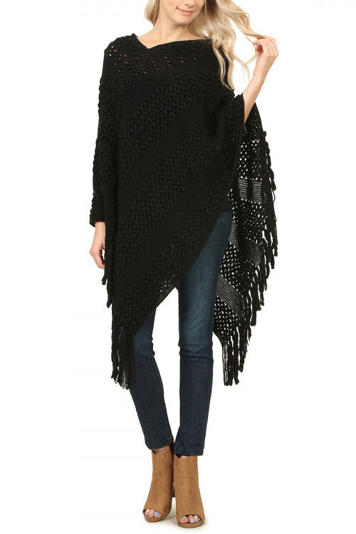 Fringe Trim Poncho - More Colors