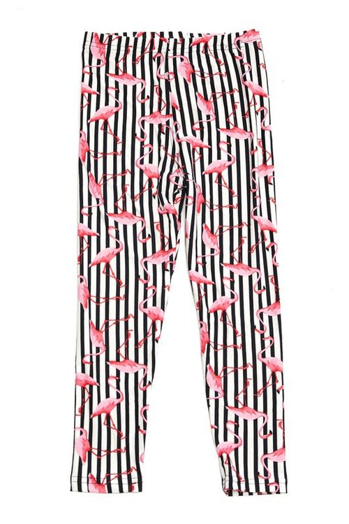 Flamingo on Vertical Stripes Print Leggings - Kids