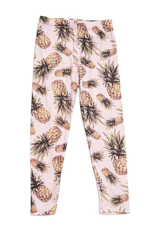 Summer Pineapple Pink Leggings - Kids