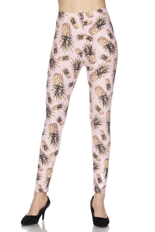 Summer Pineapple Pink  Ankle Leggings - Curvy