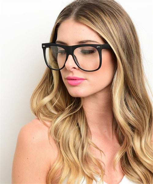 BLACK AVIATOR STYLE CLEAR LENS GLASSES