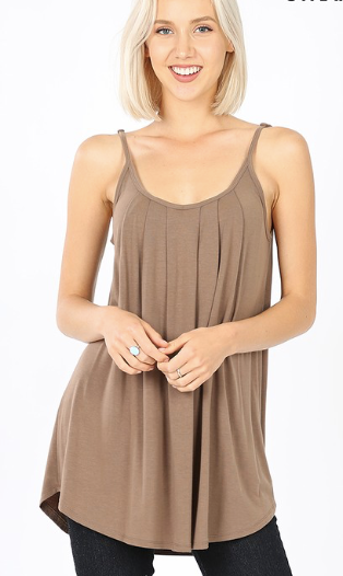 Pleated Cami W/ Adjustable Straps - More Colors