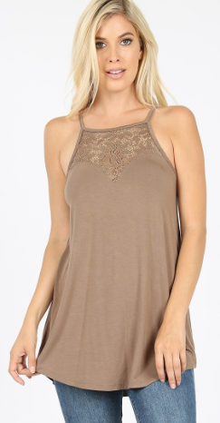 Lace Halter Tank - More Colors