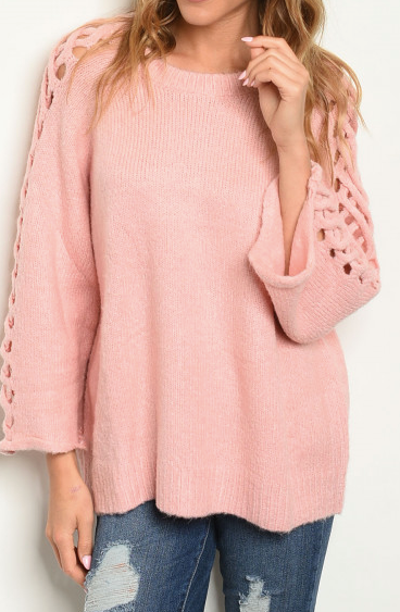 Lattice Sleeve Sweater