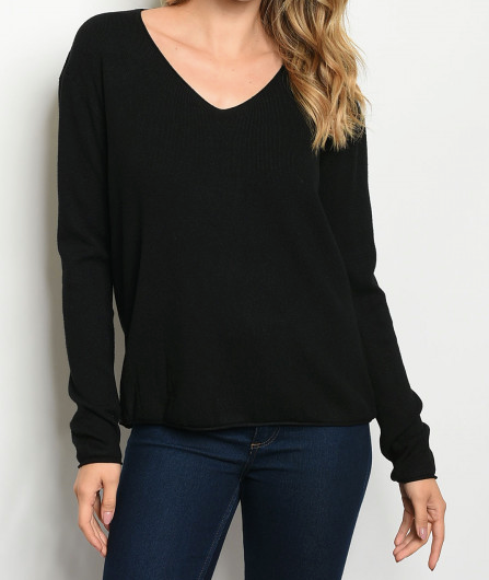 Casual V-Neck Sweater Top