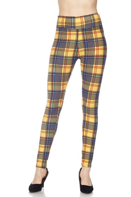 Mustard Plaid Print Ankle Leggings w/ 3 inch Waistband