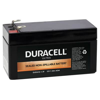 "Duracell DURA12-1.3F Battery 12V 1.3Ah AGM .187"" Fast On - SLAA12-1.3F"