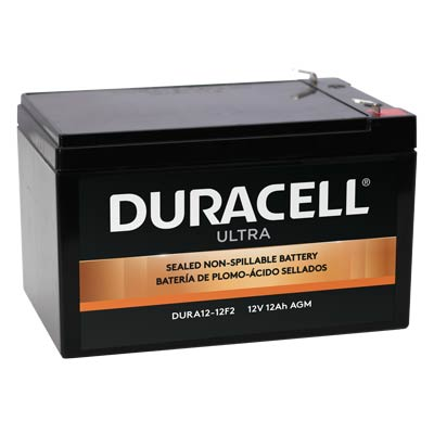 "Duracell DURA12-12F2 Battery 12V 12Ah AGM .250"" Faston - SLAA12-12F2"