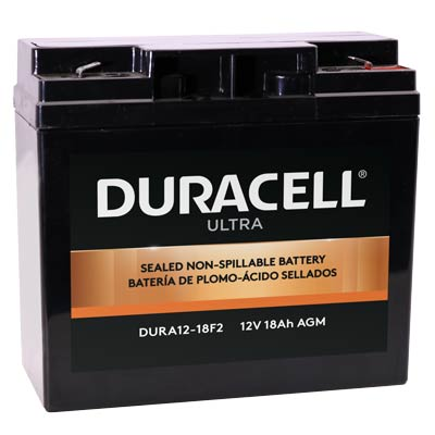 "Duracell DURA12-18F2 Battery 12V 18Ah AGM .250"" Faston - SLAA12-18F2"