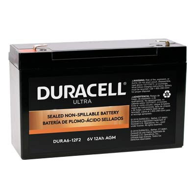 "Duracell DURA6-12F2 Battery 6V 12Ah AGM .250"" Faston - SLAA6-12F@"