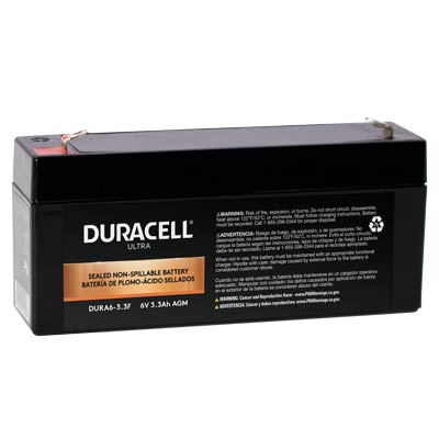 "Duracell DURA6-3.3F Battery 6V 3.3Ah AGM .187"" Faston - SLAA6-3.3F"