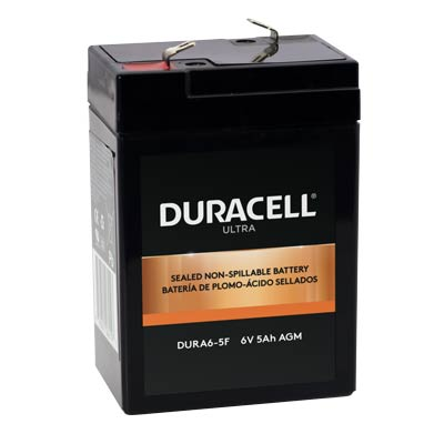 "Duracell DURA6-5F Battery 6V 5Ah AGM .187"" Faston - SLAA6-5F"
