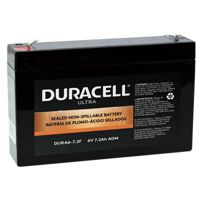 "Duracell DURA6-7.2F Battery 6V 7.2Ah AGM .187"" Faston - SLAA6-7.2F"