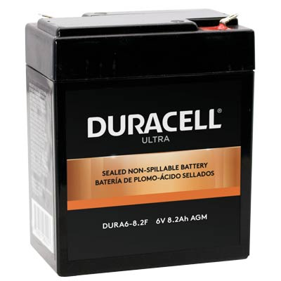 "Duracell DURA6-8.2F Battery 6V 8.2Ah AGM .187"" Faston - SLAA6-8.2F"