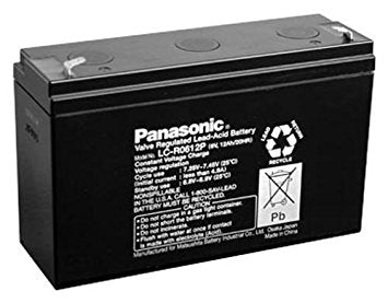 "Panasonic LC-R0612P Battery - 6 Volt 12 Ah (.187"" Terminals)"