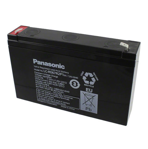 "Panasonic LC-R067R2P1 Battery - 6 Volt 7.2 Ah (.250"" Terminals)"