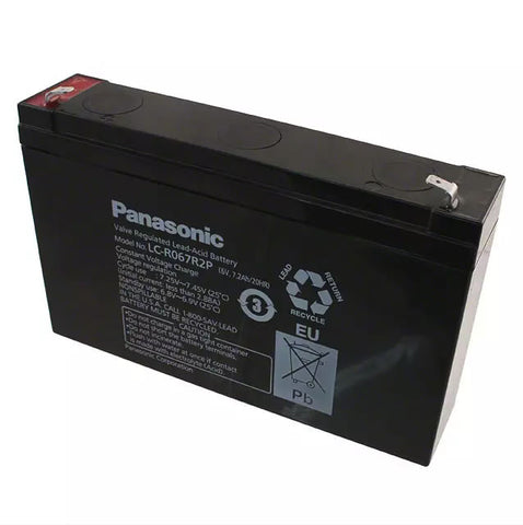 "Panasonic LC-R067R2P Battery - 6 Volt 7.2 Ah (.187"" Terminals)"