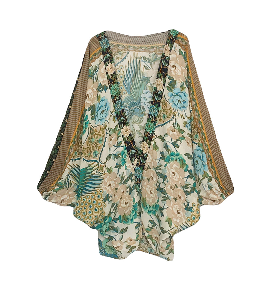 Adalyn Flower and Peacock Cocoon Style Kimono in Green