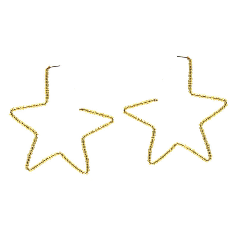 Adela Star Earrings - Gold-Earrings-Wholesale-Boutique-Clothing-Accessories