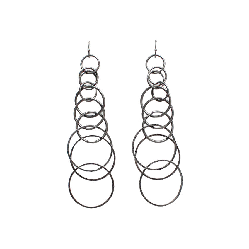 Alayah Circle Hoop Dangle Earrings - Worn Silver