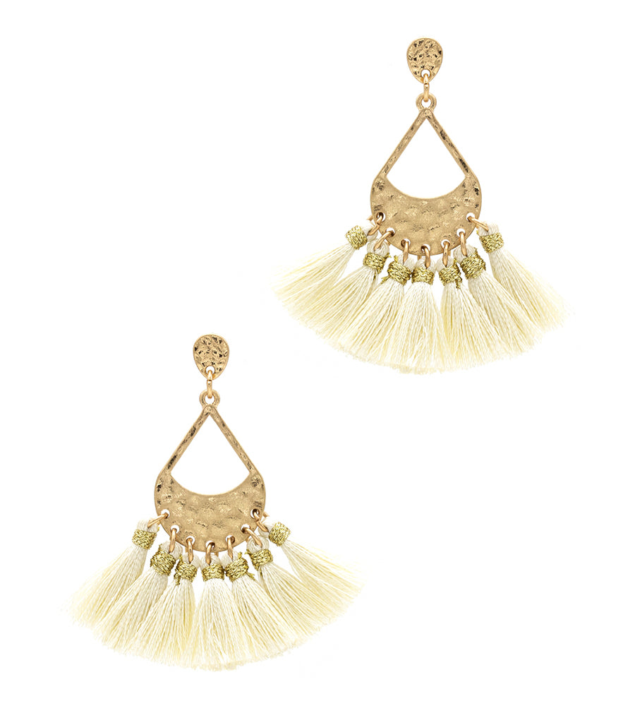 Aleah Thread Tassel with Hammered Metal Post Earring - Ivory