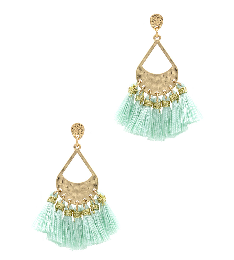 Aleah Thread Tassel with Hammered Metal Post Earrings - Mint