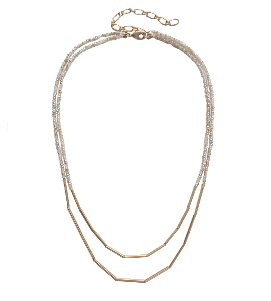 Anaya Beaded Metal Necklace Worn Gold Ivory