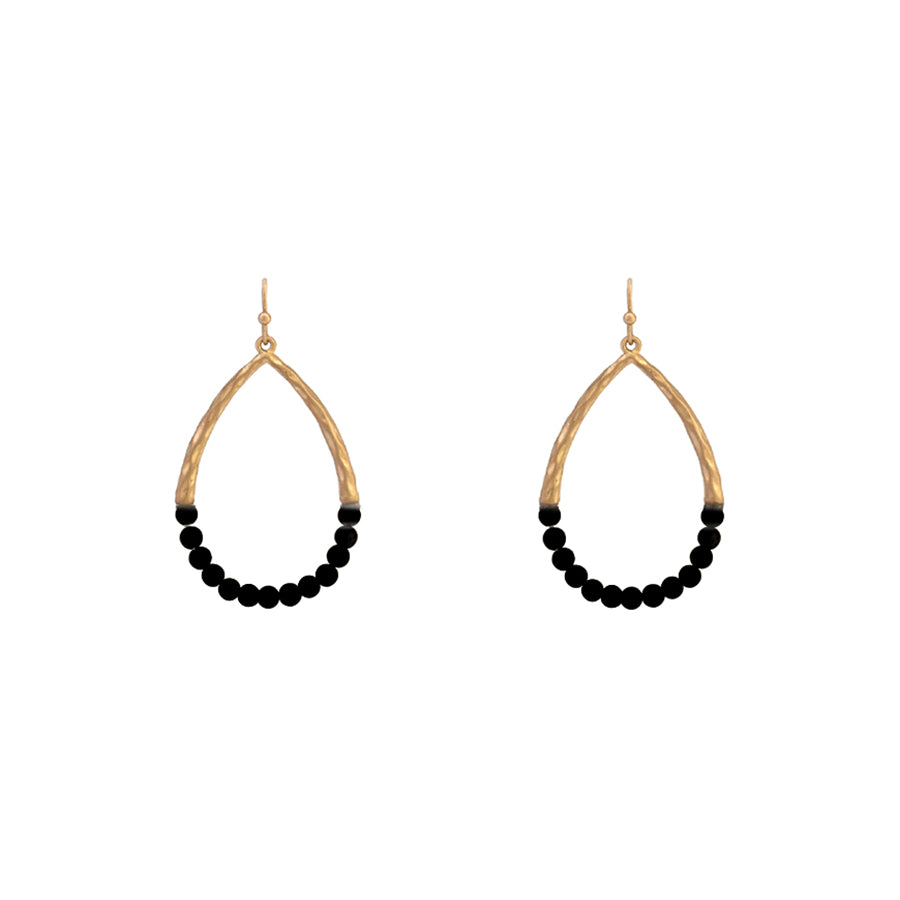 Arely - Worn Gold Jet Black-Earrings-Wholesale-Boutique-Clothing-Accessories