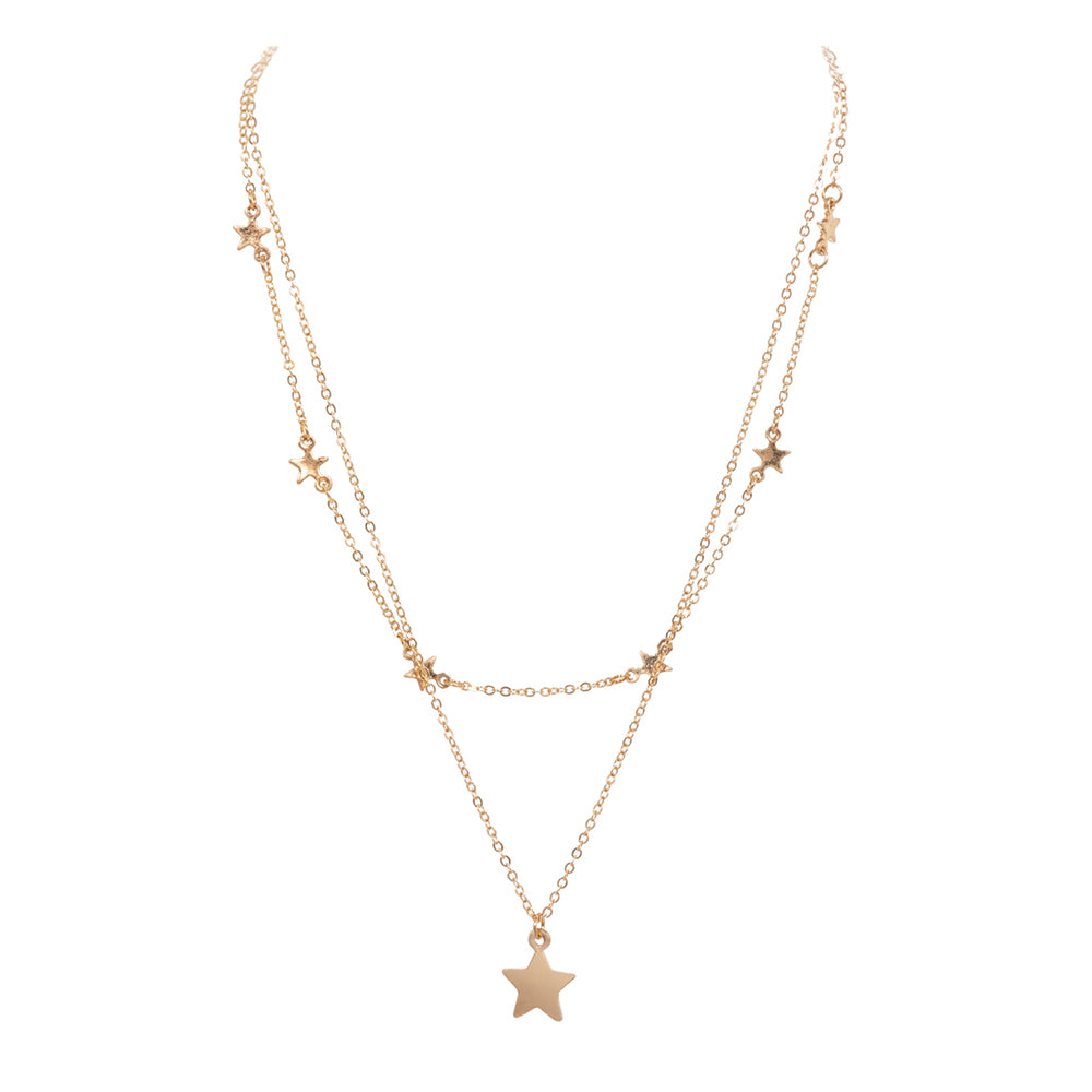 Ariah Star Necklace - Worn Gold-Necklaces-Wholesale-Boutique-Clothing-Accessories