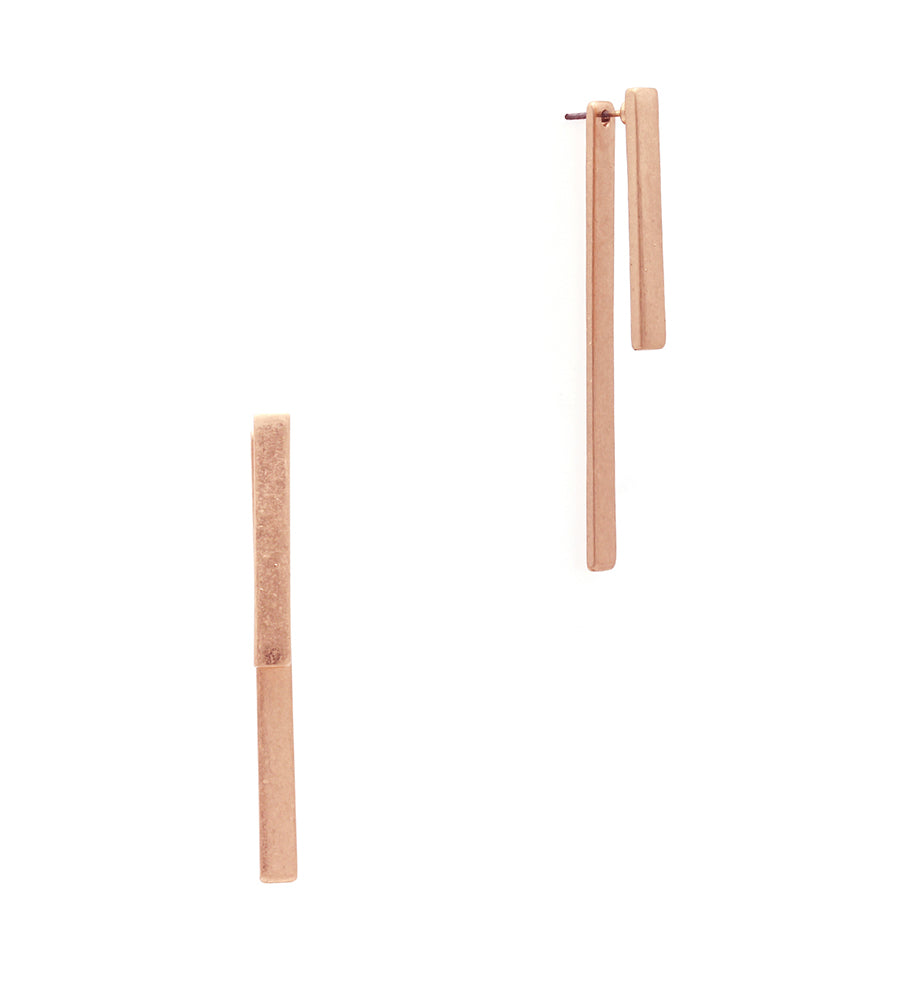 Aubrey Double Metal Bar Post Earrings - Rose Gold