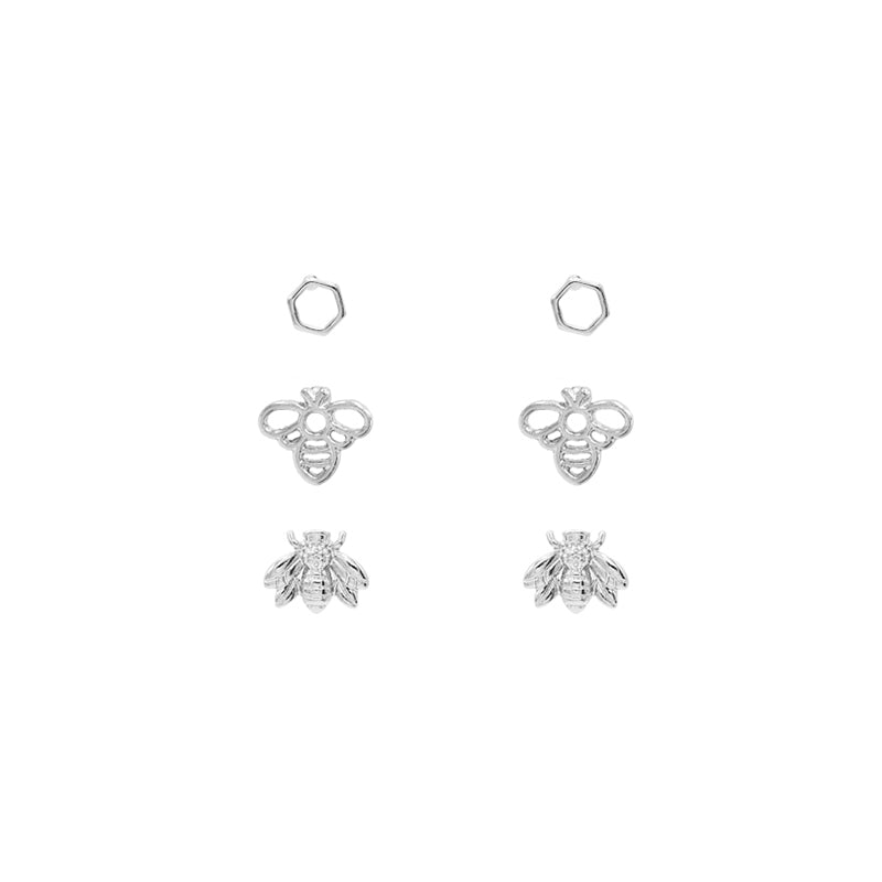 Bee Stud Set - Rhodium Silver-Earrings-Wholesale-Boutique-Clothing-Accessories