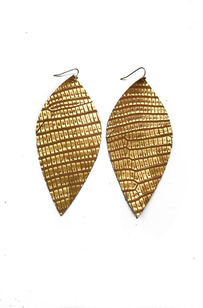 Single Layer Leather Earring - Gold Reptile