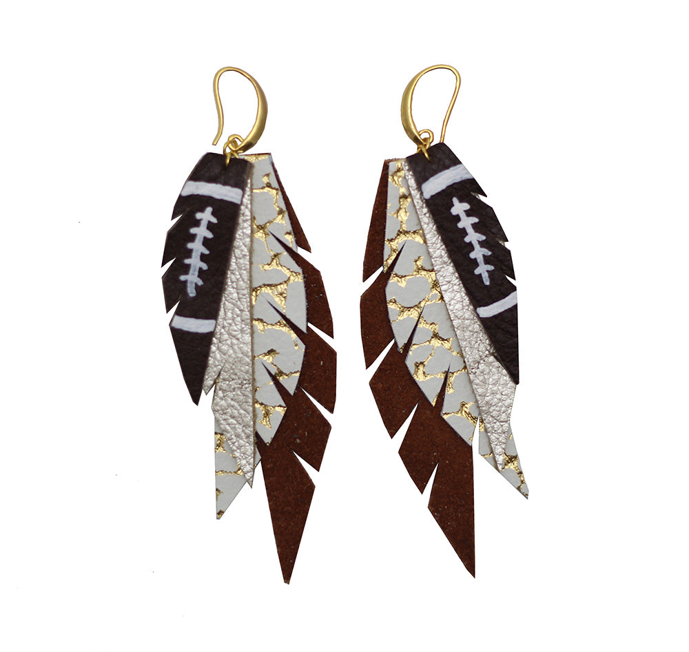 Layered Leather Football Earring - Burnt Orange and White