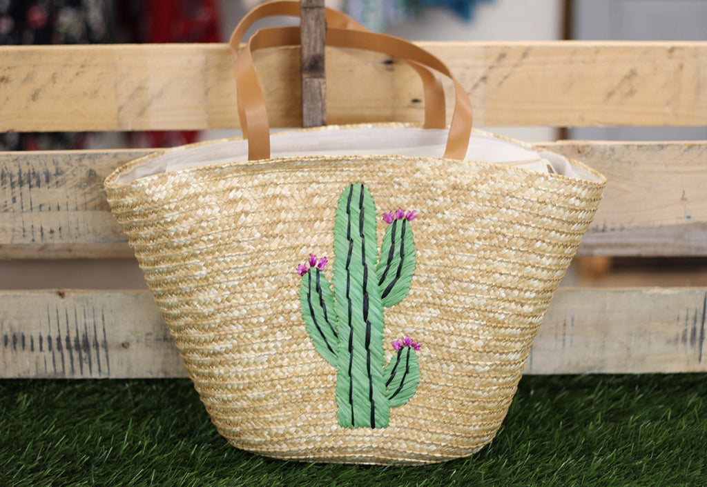 Cactus Straw Tote Bag-Tote Bags-Wholesale-Boutique-Clothing-Accessories