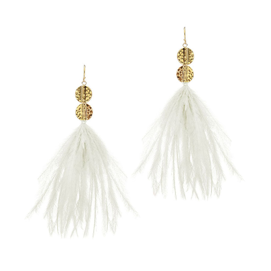Caily Feather Earrings - Worn Gold Ivory