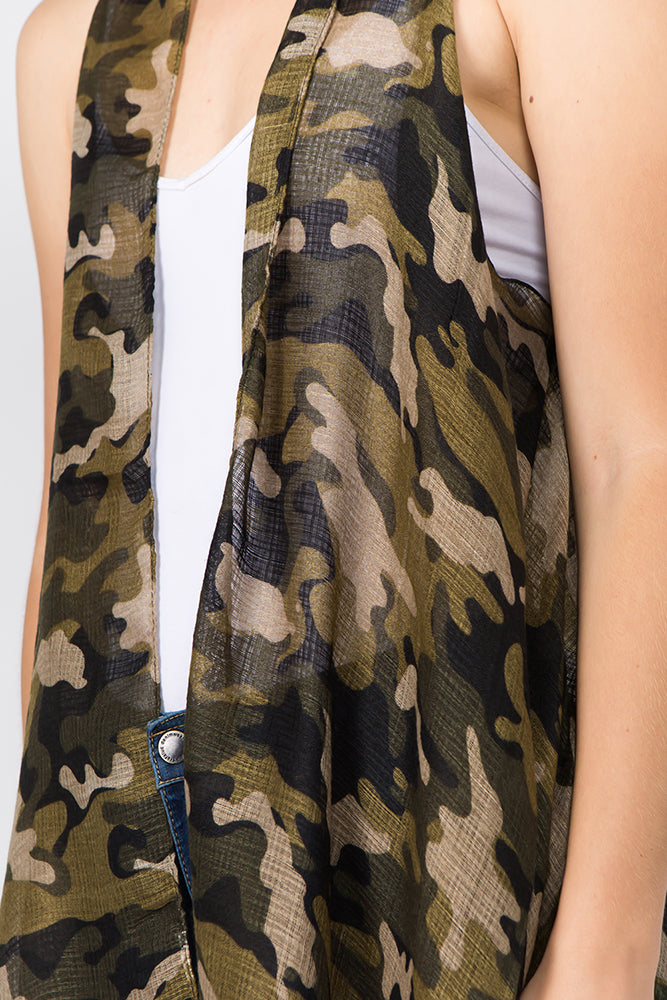 Nash Camo Lightweight Vest Olive Close Up Front