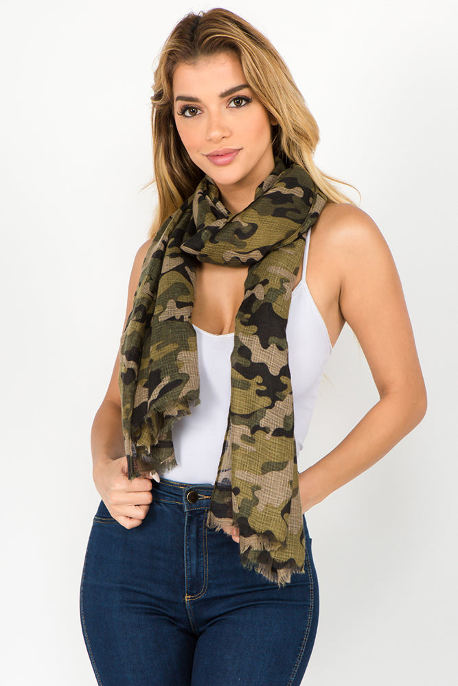 Camo Scarf - Olive (2 pcs)-Scarves + Wraps-Wholesale-Boutique-Clothing-Accessories