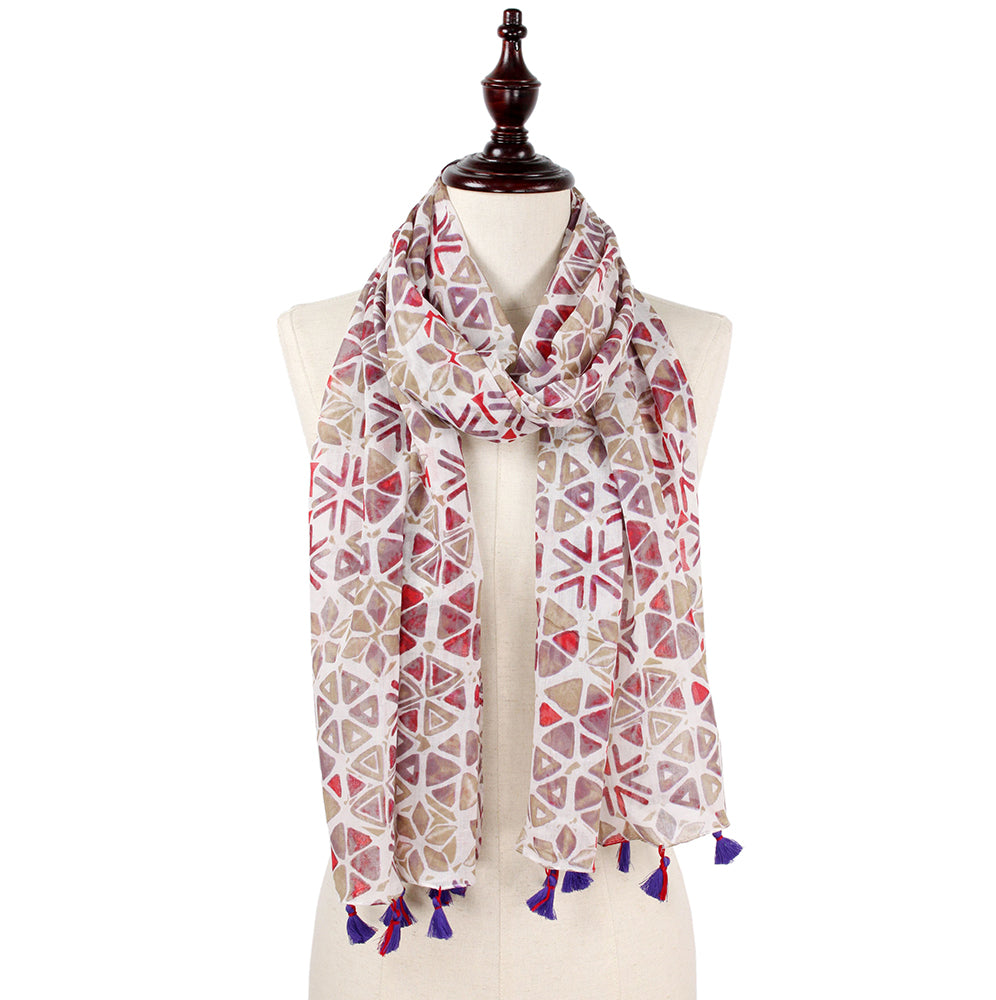 Cecilia Abstract Print Scarf - Purple (2 pcs)-Scarves + Wraps-Wholesale-Boutique-Clothing-Accessories
