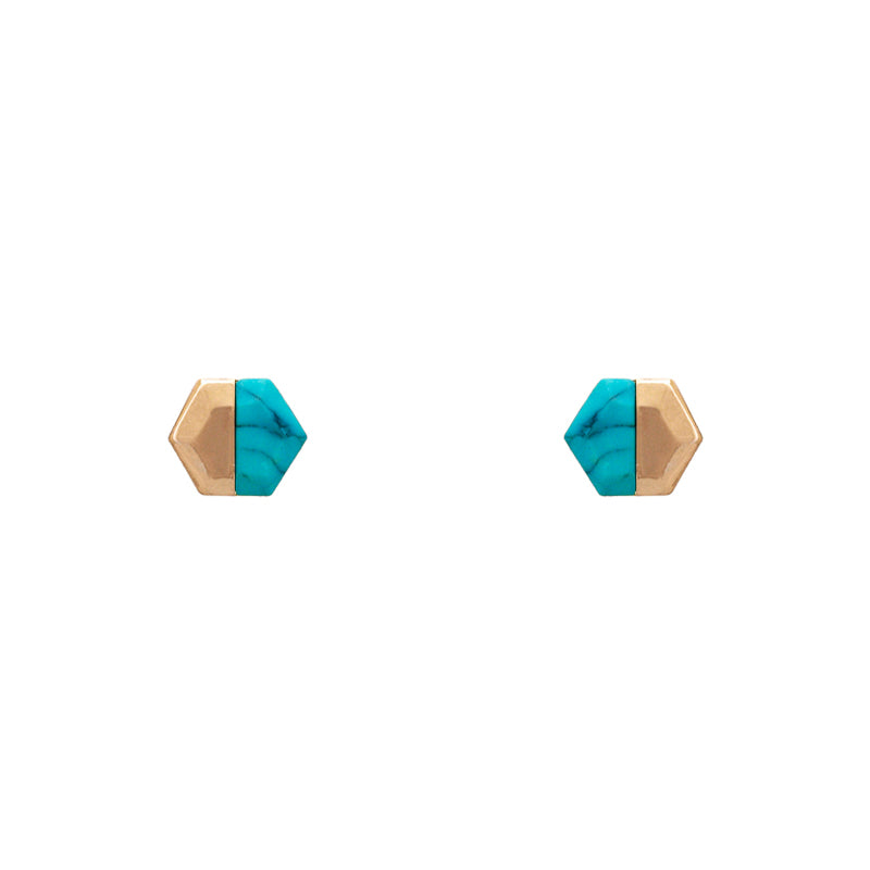 Charlotte - Worn Gold Turquoise-Earrings-Wholesale-Boutique-Clothing-Accessories