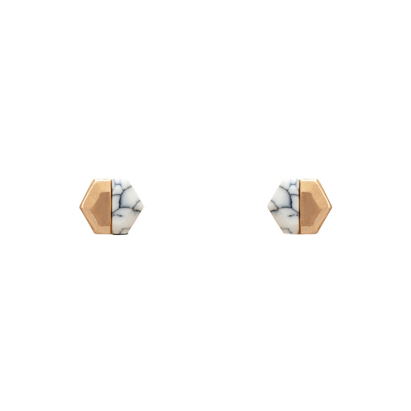 Charlotte - Worn Gold White Howlite-Earrings-Wholesale-Boutique-Clothing-Accessories