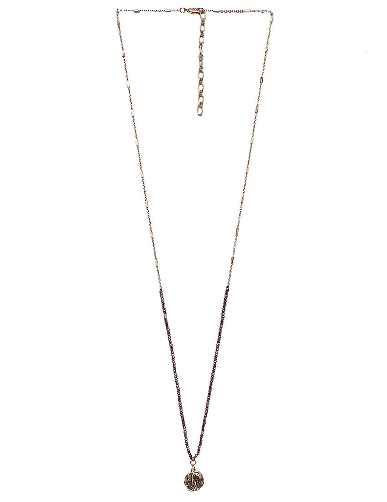 Claren Glass Bead with Gold Pendant Necklace - Red Gold