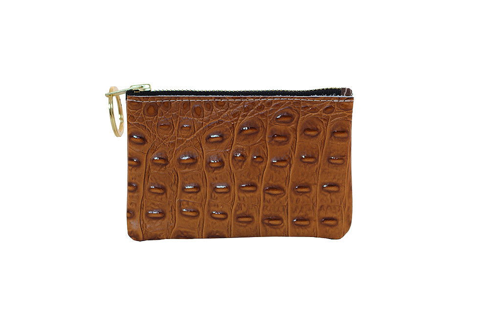 Croc Coin Purse - Cognac-Leather Coin Purse-Wholesale-Boutique-Clothing-Accessories