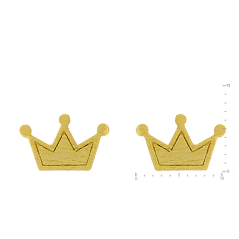 Crown Stud Earrings - Brushed Gold