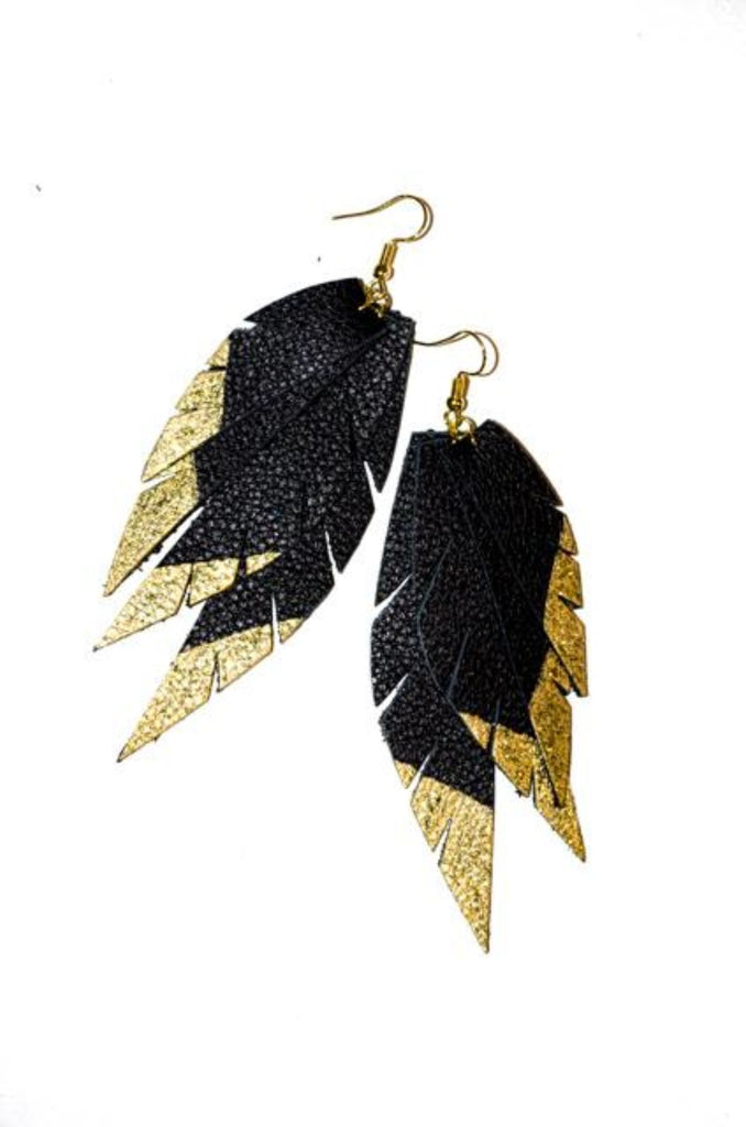 Layered Leather Earring- Black/Gold Dipped