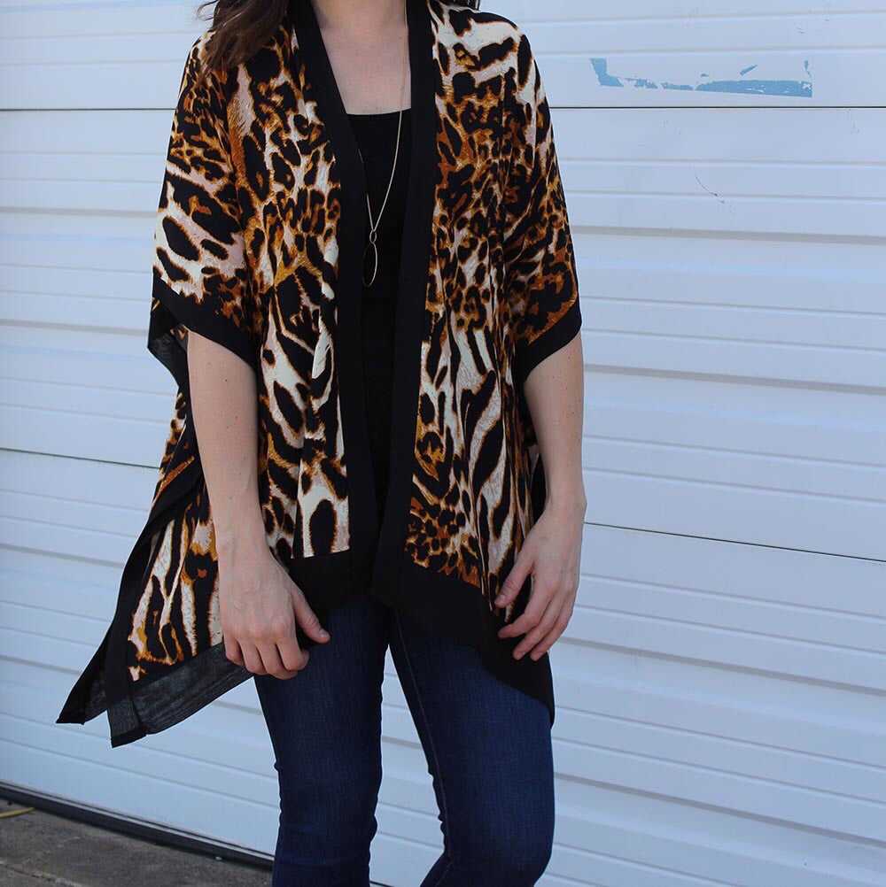 Fiora Animal Print Kimono on model - Brown